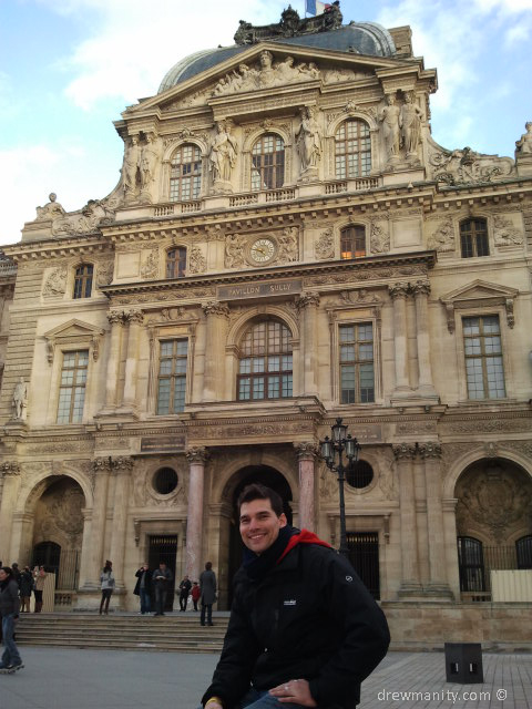 Sitting outside the Louvre