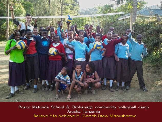 Kids from the community come to Peace Matunda and learn Volleyball