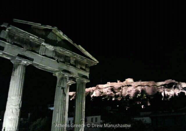 Acropolis at night and plaka distric