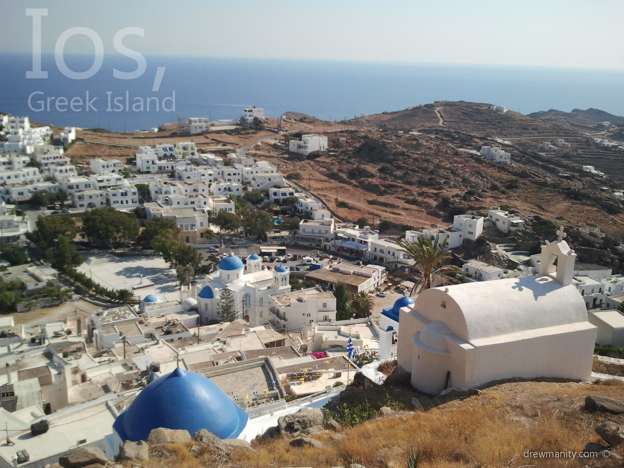 Ios greece mountain top view