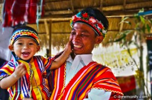 Hill tribe man with his son. Beautiful smiles.