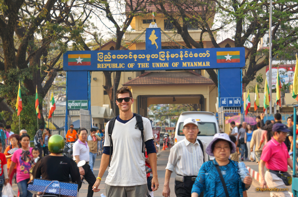 Crossing the border into Myanmar from Thailand